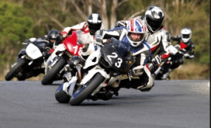 motorcycle's racing on track